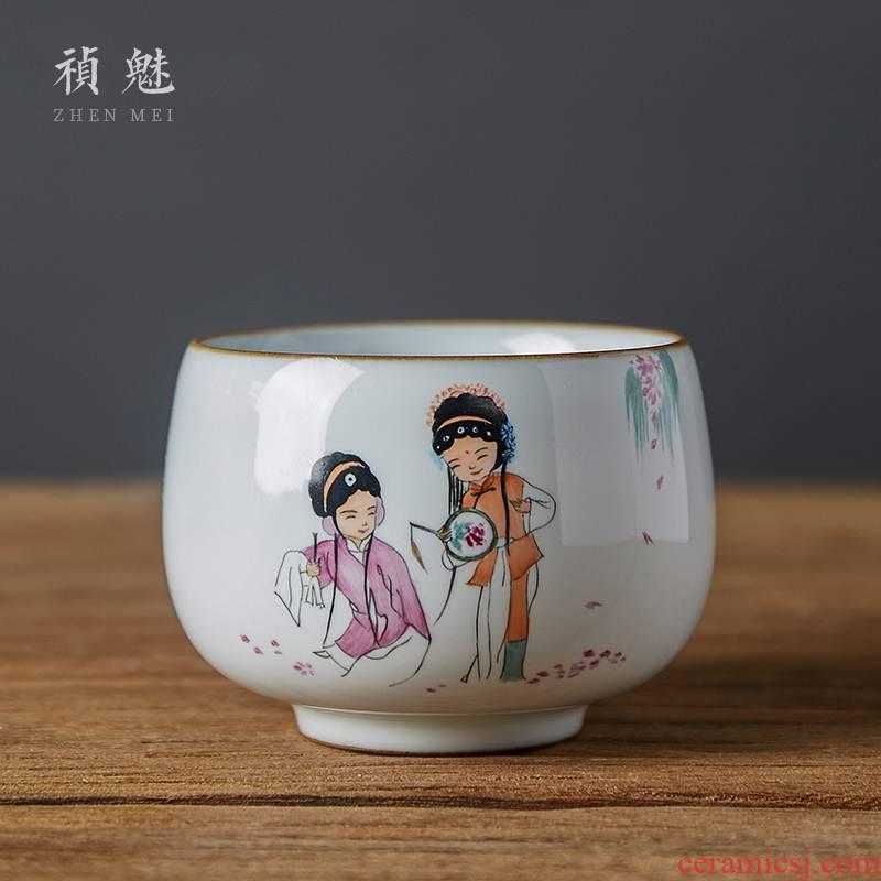Shot incarnate the jingdezhen ceramic up hand - made drama characters cup kung fu tea set single individual tea cup master CPU