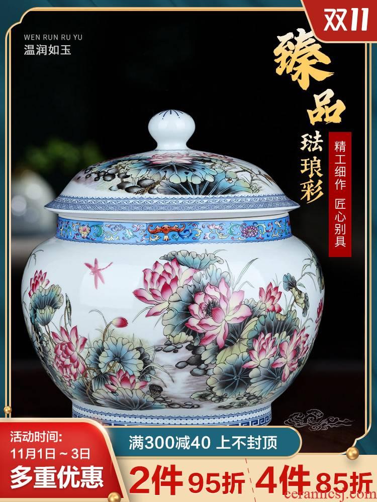 Archaize of jingdezhen ceramics colored enamel tea pot large kitchen puer tea biscuit fruit snacks storage tank