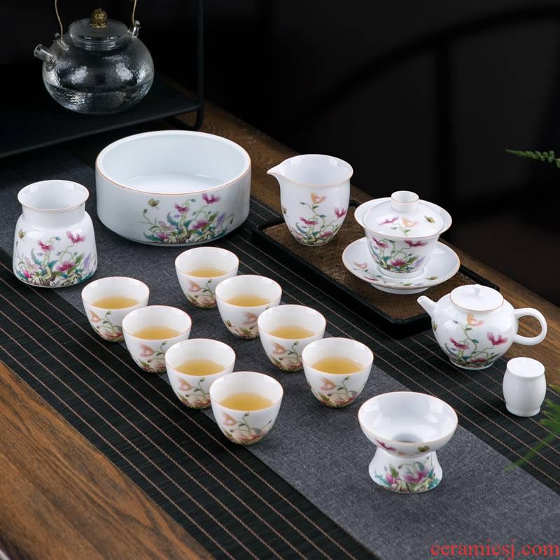Jingdezhen ceramic Chinese kung fu tea set with white porcelain tea set office tureen teapot