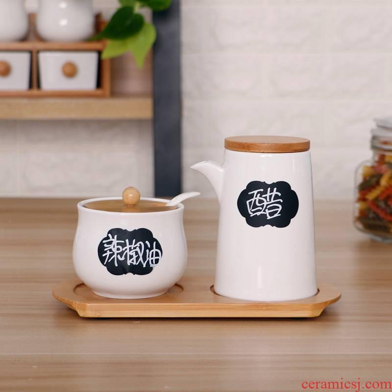 View the best Japanese kitchen ceramic oil can soy sauce vinegar bottle chili oil tank salt shaker vinegar pot seasoning sauce pot