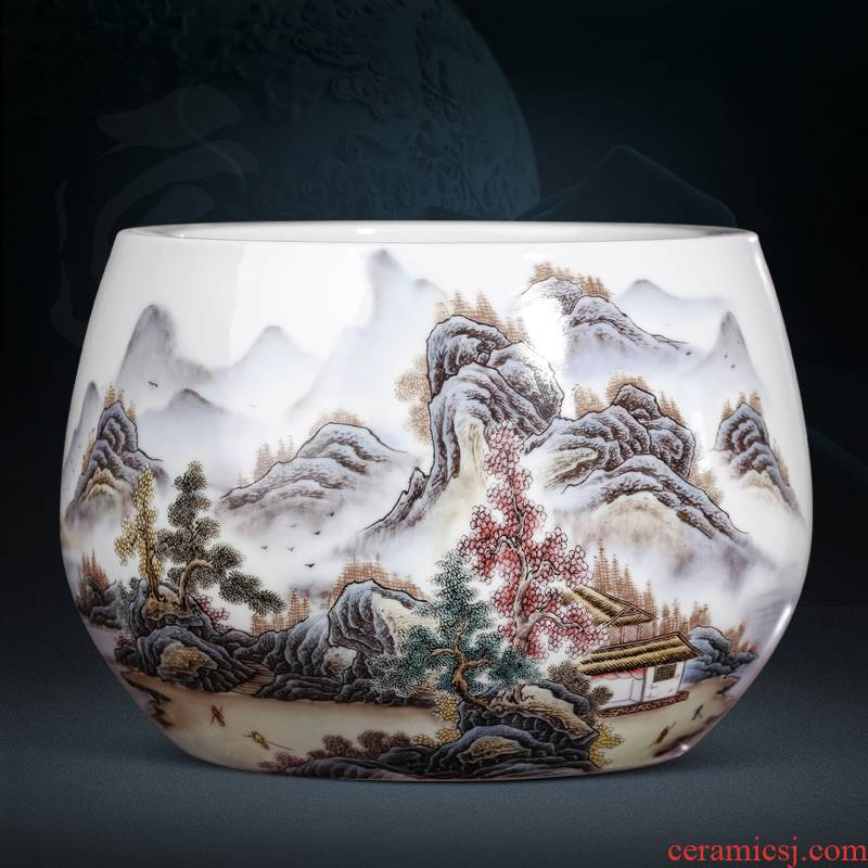 Jingdezhen ceramics powder enamel cornucopia furnishing articles goldfish bowl a turtle basin flower pot pot sitting room adornment study
