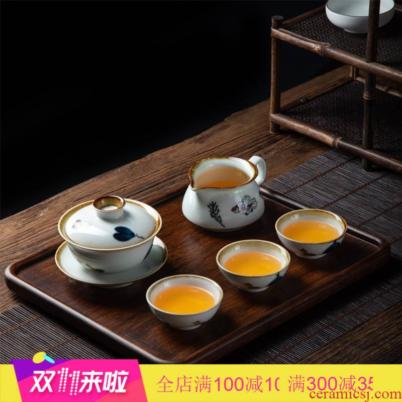 Poly real (kung fu tea set household jingdezhen ceramic retro scene hand - made three set of tureen household contracted