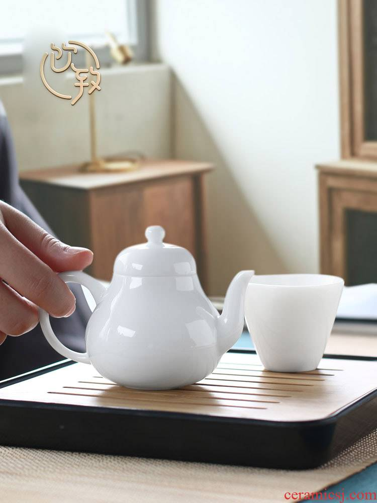 Ultimately responds white porcelain single single pot of jingdezhen ceramic teapot to make tea, small household mini xi shi pot of kung fu tea set