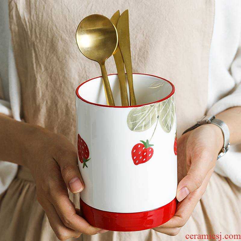 Creative, Nordic dobbin pen container variable glaze ceramic tube of chopsticks chopsticks box son chopsticks hand - made tableware kitchen supplies