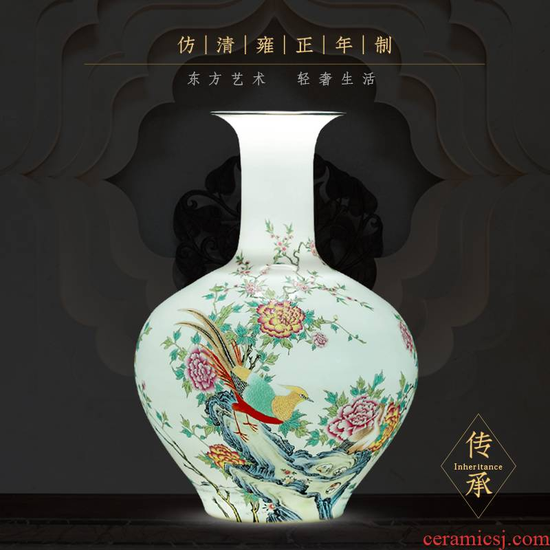 Jingdezhen ceramic hand - made thin foetus vase of new Chinese style living room TV cabinet flower arranging porcelain home decoration furnishing articles