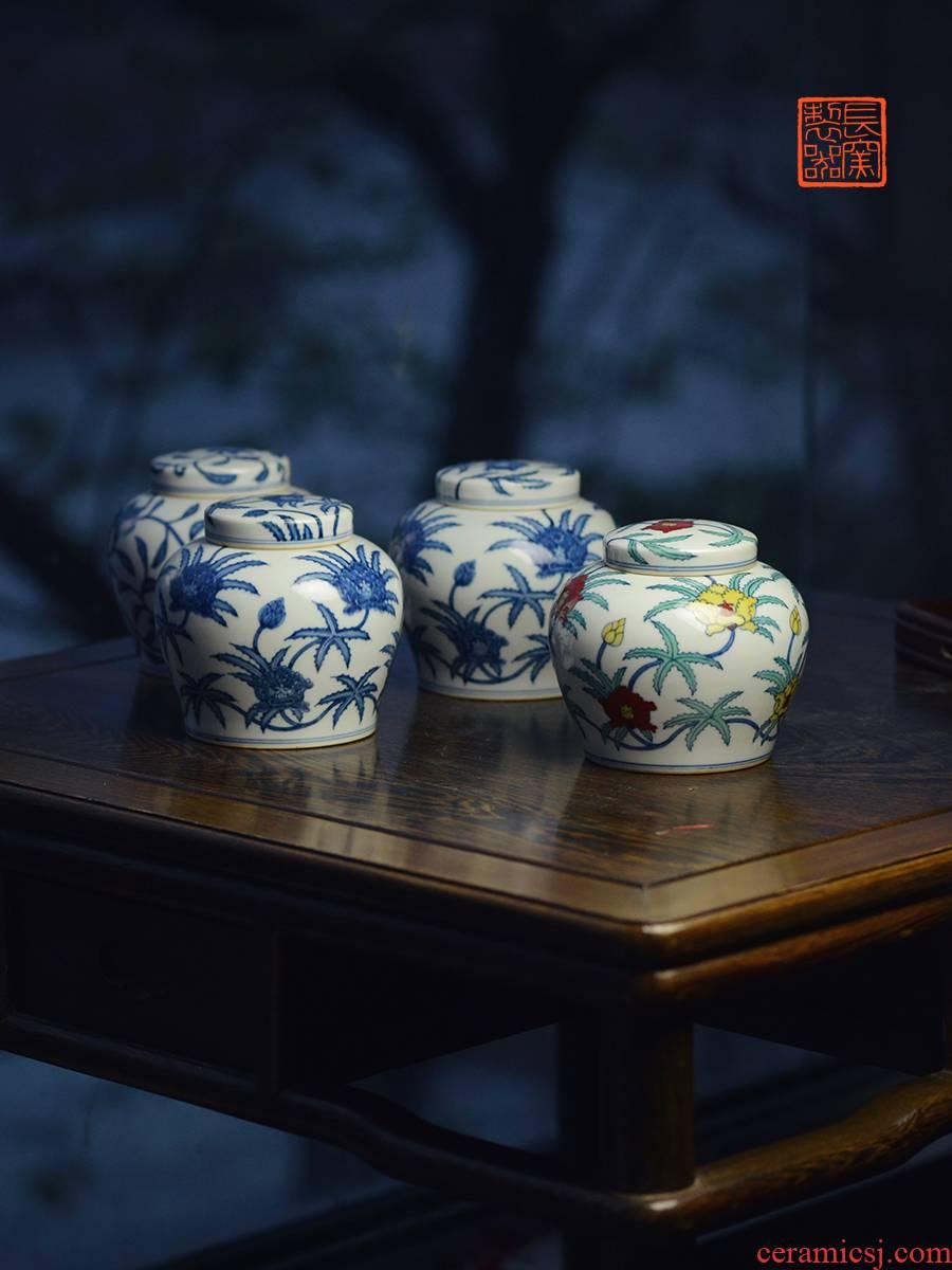 Offered home - cooked ju long up controller doucai bucket color Zhi, ZiWen okra grain jingdezhen tea pot cover by hand