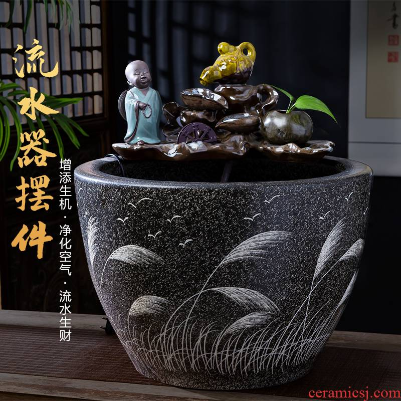 Jingdezhen ceramics aquarium zen water fountain large landing place, a new Chinese style household club house decoration