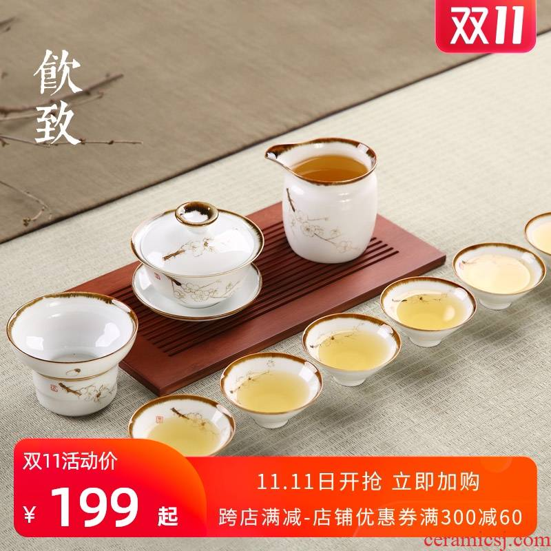 Ultimately responds to jingdezhen hand - made up with tea set household kunfu tea tureen of pottery and porcelain of a complete set of tea cups thin foetus