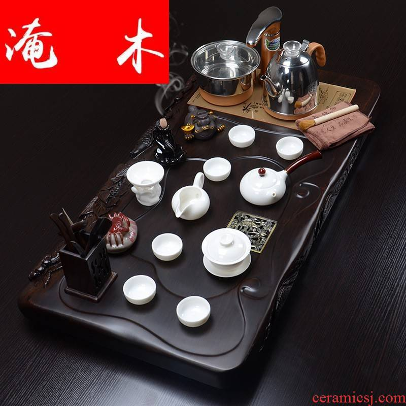 Flooded hand carved Pisces show lotus ebony wood tea tray was four unity of violet arenaceous kung fu tea set