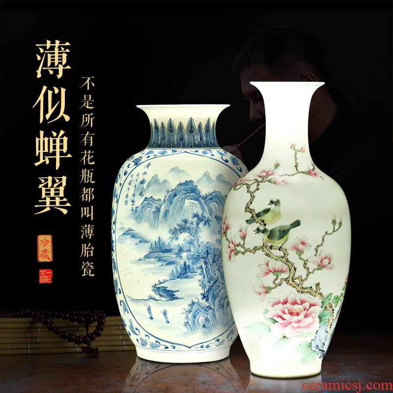 Jingdezhen blue and white porcelain vases, pottery and porcelain furnishing articles famous hand - made of new Chinese style household adornment of the sitting room porch