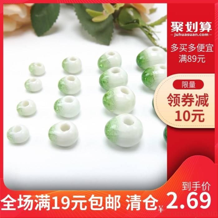 Jingdezhen ice to crack the green beads emerald green ceramic beads 6 mm ~ 12 mm porcelain bead bracelet diy