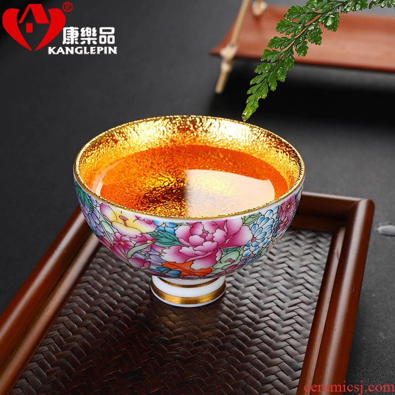 Recreation jingdezhen small ceramic cups and gold colored enamel kung fu tea bowl master cup sample tea cup single CPU