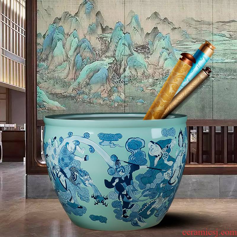 Jingdezhen ceramic turtle sitting room water tanks with fish bowl goldfish bowl painting and calligraphy cylinder office courtyard VAT furnishing articles