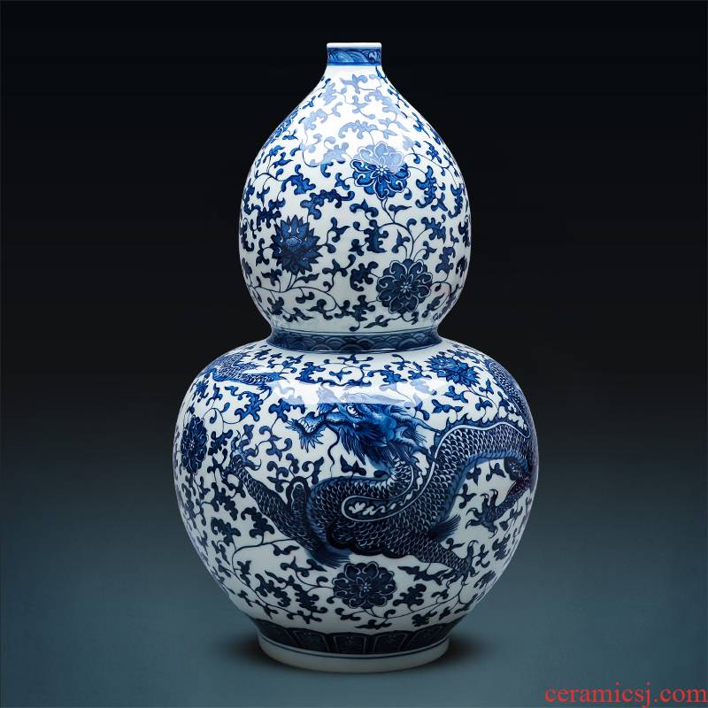 Blue and white porcelain of jingdezhen ceramics vase landed large gourd furnishing articles imitation the qing Chinese style home sitting room adornment