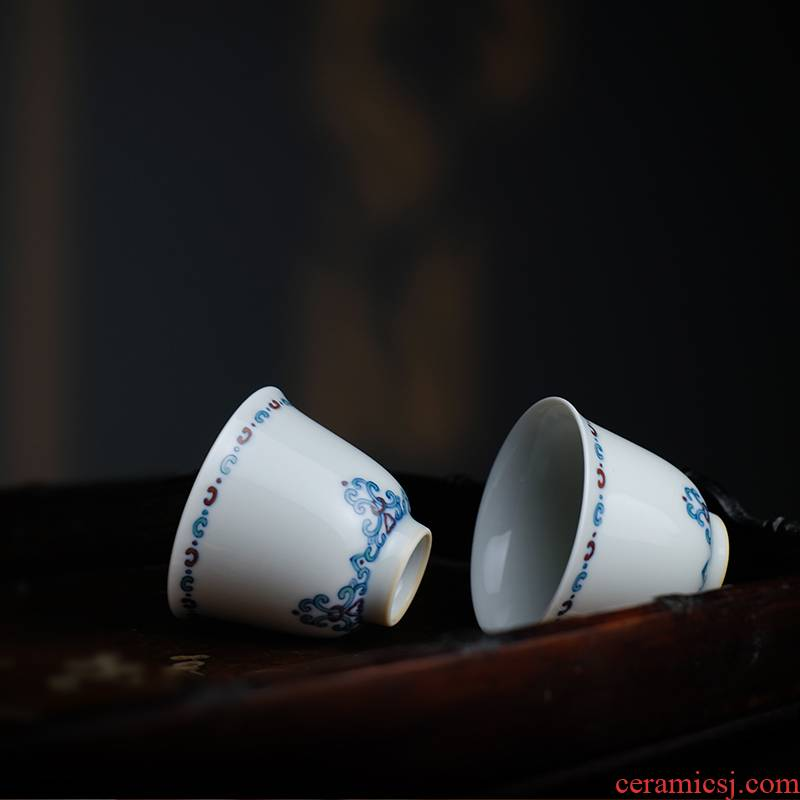 Offered home - cooked ju long up controller yongzheng bucket color honeysuckle line the bell cup of jingdezhen manual master cup tea set