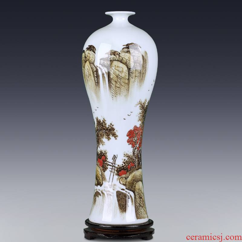 Jingdezhen ceramics hand - made scenery blue and white porcelain vase furnishing articles of Chinese style household act the role ofing is tasted, the sitting room TV cabinet decoration
