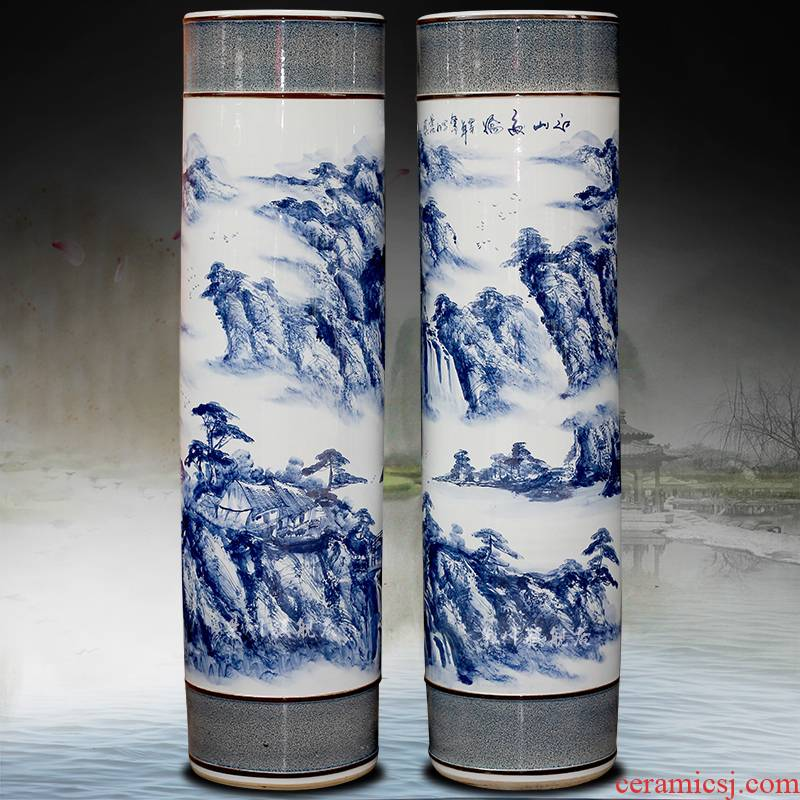 Blue and white porcelain of jingdezhen ceramics hand - made jiangshan jiao more large quiver big vase sitting room place hotel