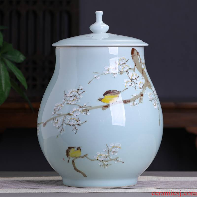 Jingdezhen hand - made name plum flower tea pot household ceramics large storage tanks seal pot high - capacity tea urn barrels