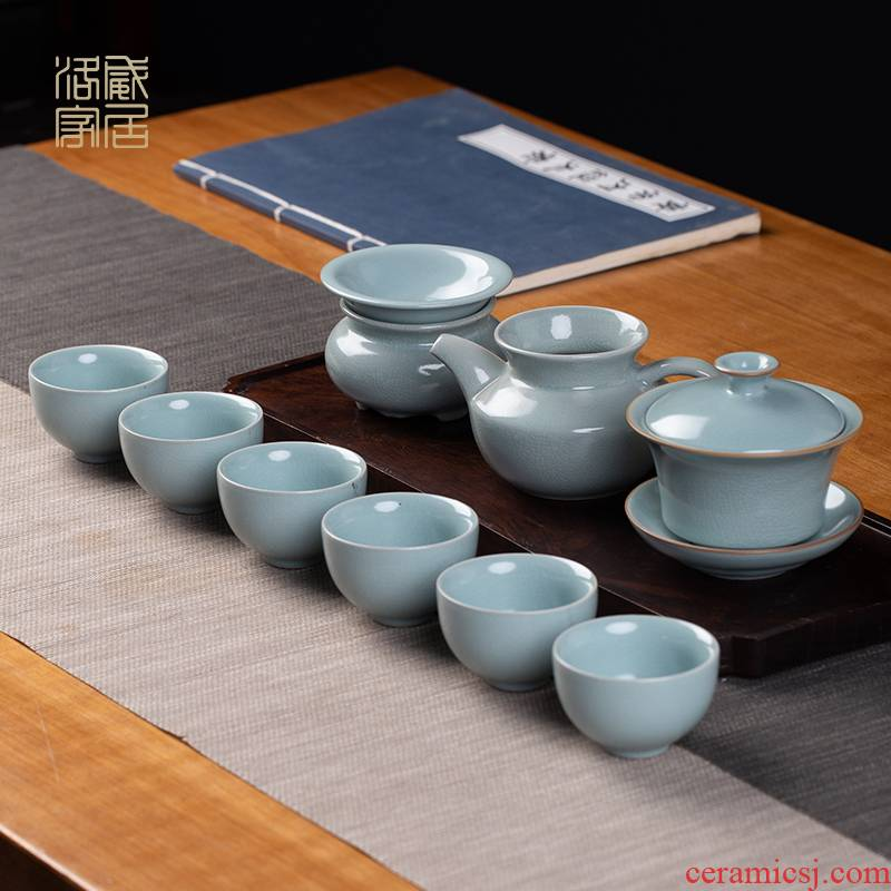 Your up the was set home sitting room jingdezhen ceramic kung fu tea tureen teapot teacup of a complete set of gift boxes