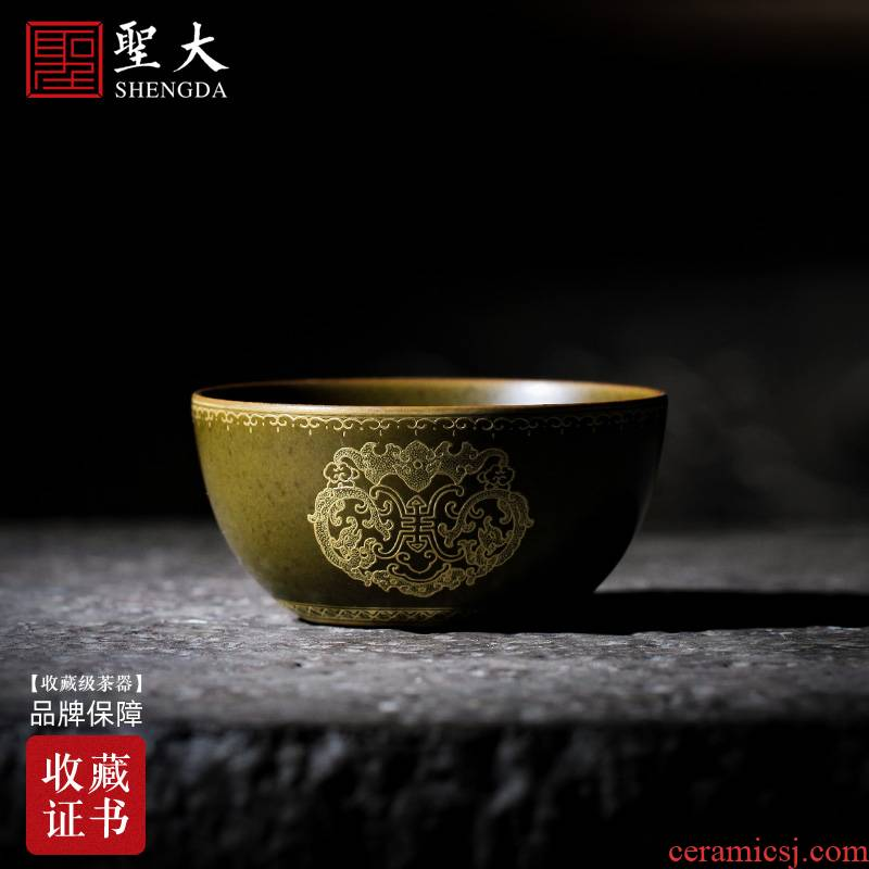 Santa teacups hand - made ceramic kung fu tea glaze heap Jin Fushou fortunes lie the fa cup at the end of the jingdezhen tea by hand