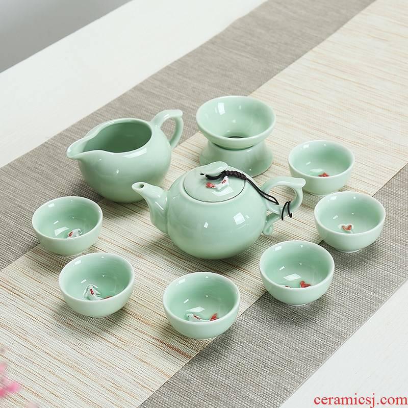 Tea set with small fish longquan celadon kung fu tureen ten piece of fish cup Tea carp cup teapot teacup