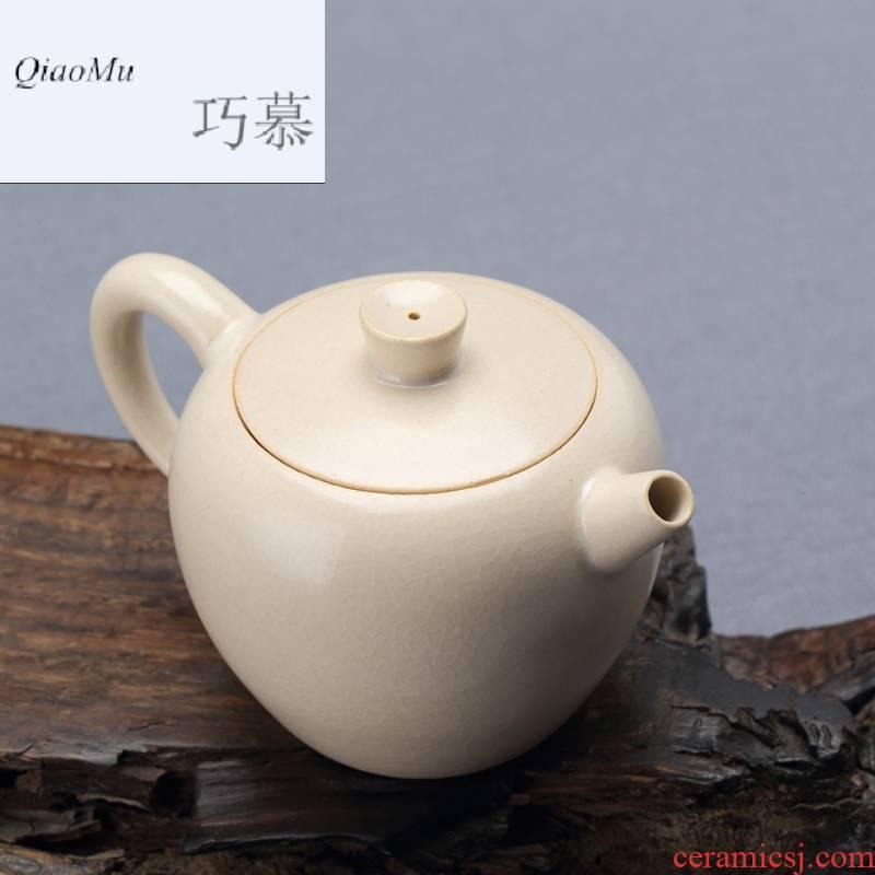 Qiao mu jingdezhen TaoMingTang checking ceramic POTS ceramic white mud small single pot of kung fu tea pot individual household mercifully