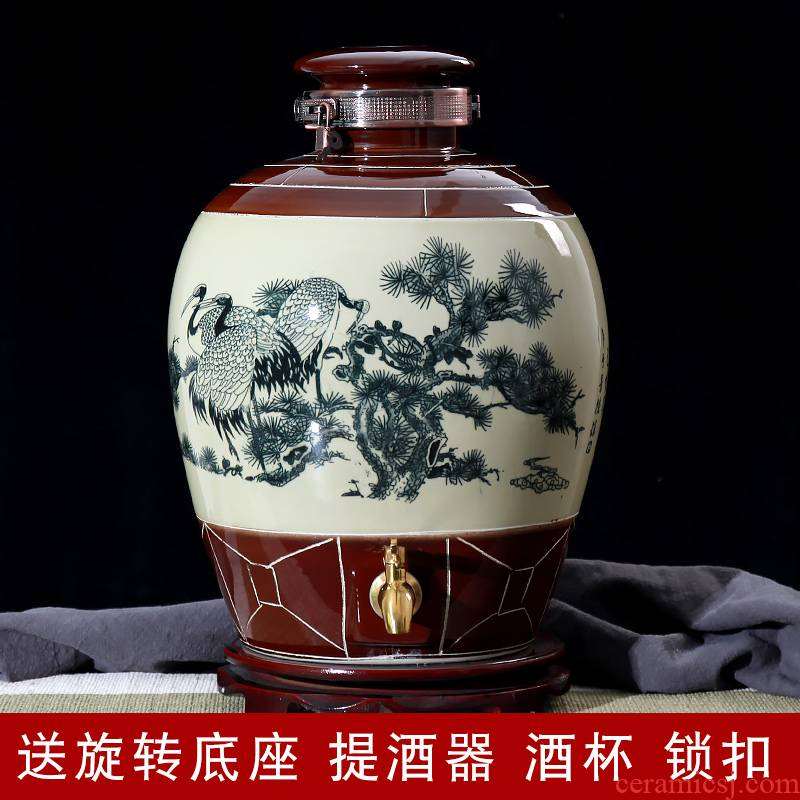 Jingdezhen ceramic wine wine jar cylinder 10 jins 20 jins 30 jins 50 jins antique bottle seal hip flask