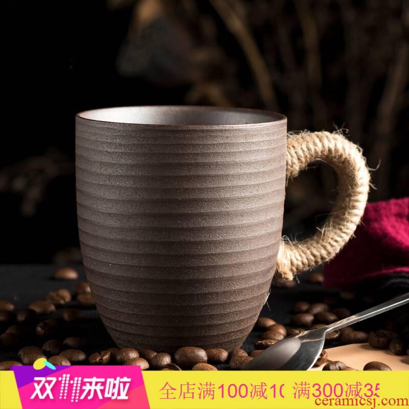Get creative scene coarse pottery lashing mugs unglazed hand embryo high - capacity move tea cups of coffee cup LOGO