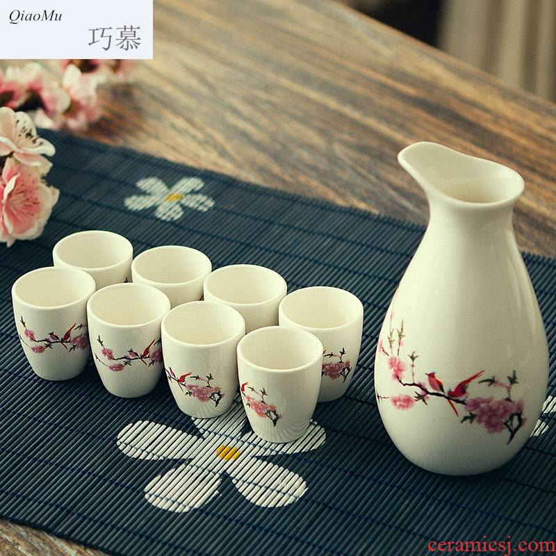 Qiao mu Japanese ink wind wine wine suits for home wine cup ceramic liquor wine to ultimately responds a cup of wine bottle points