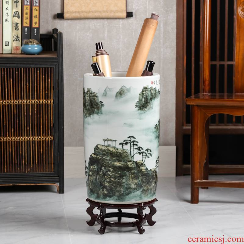 Chinese wind jingdezhen landing big vase painting and calligraphy scrolls cylinder sitting room adornment furnishing articles study scrolls to receive a cylinder