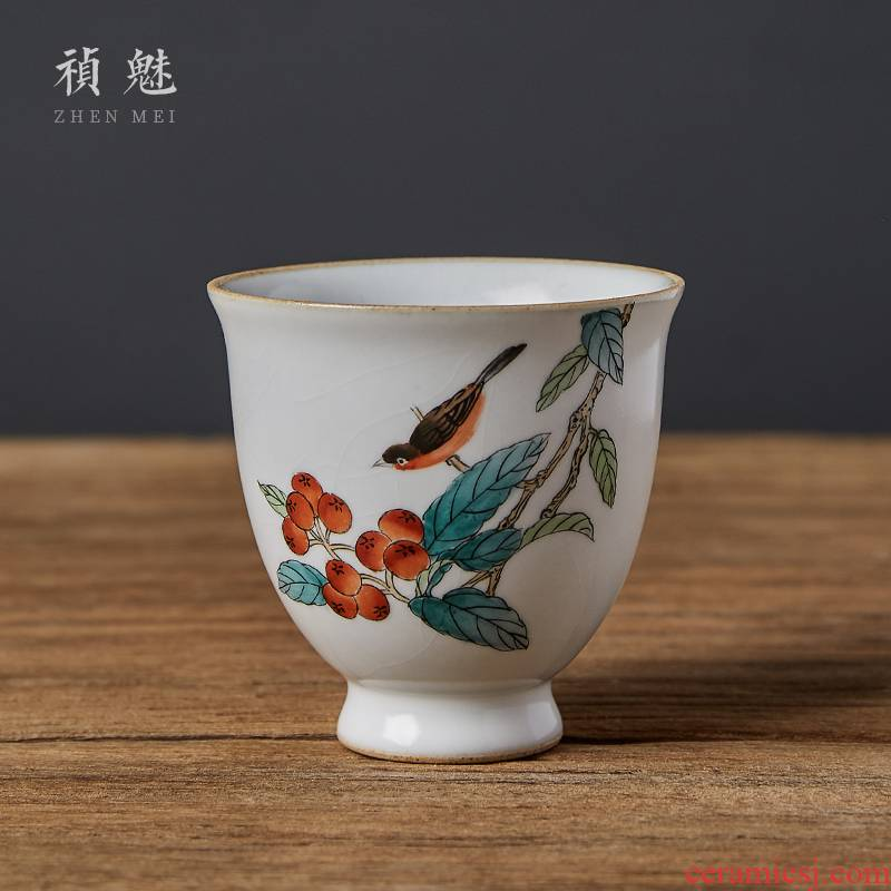 Shot incarnate your up hand - made teacup to open the slice of jingdezhen ceramic kung fu tea master sample tea cup cup personal single CPU