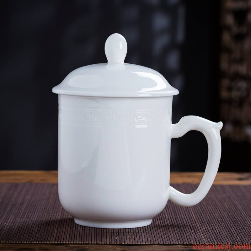 Jingdezhen ceramic cups with cover glass office cup and meeting the custom LOGO pure jade white jade ipads porcelain cup home
