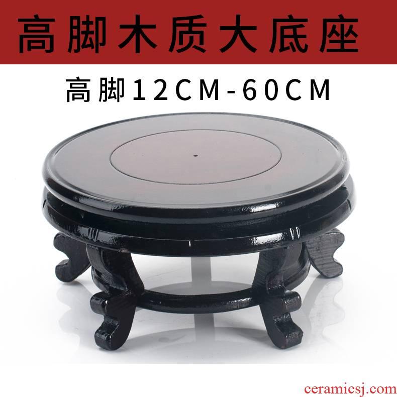 High solid wood gourd furnishing articles stone flower pot base tank vase bottom bearing round wooden bracket tray