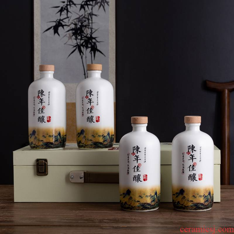 1 kg of jingdezhen ceramic bottle is empty bottles with gift box household seal hip creative ancient wine suits for