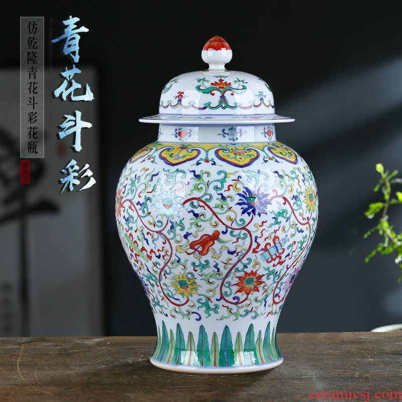 Jingdezhen blue and white porcelain vase color bucket the general pot of large household adornment is placed with cover storage tank arts and crafts