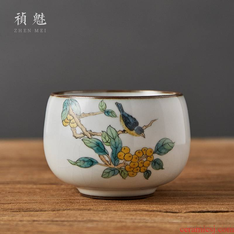 Shot incarnate your up hand - made painting of flowers and a cup of jingdezhen ceramic kung fu tea set to open the master cup single CPU individual sample tea cup