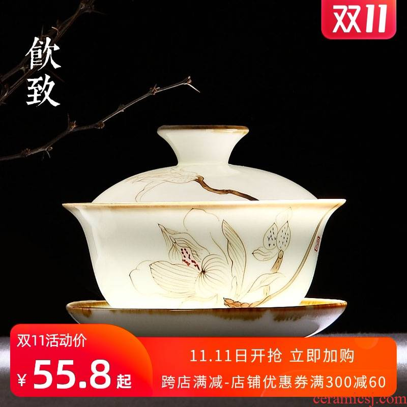 The Drinks to jingdezhen hand - made not hot tureen tea only a single white porcelain cups three large ceramic tea set