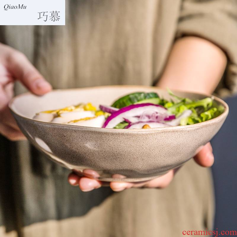 Qiam qiao mu Japanese special creative bowl of soup bowl rainbow such use ceramic bowl with irregular fruit salad bowl