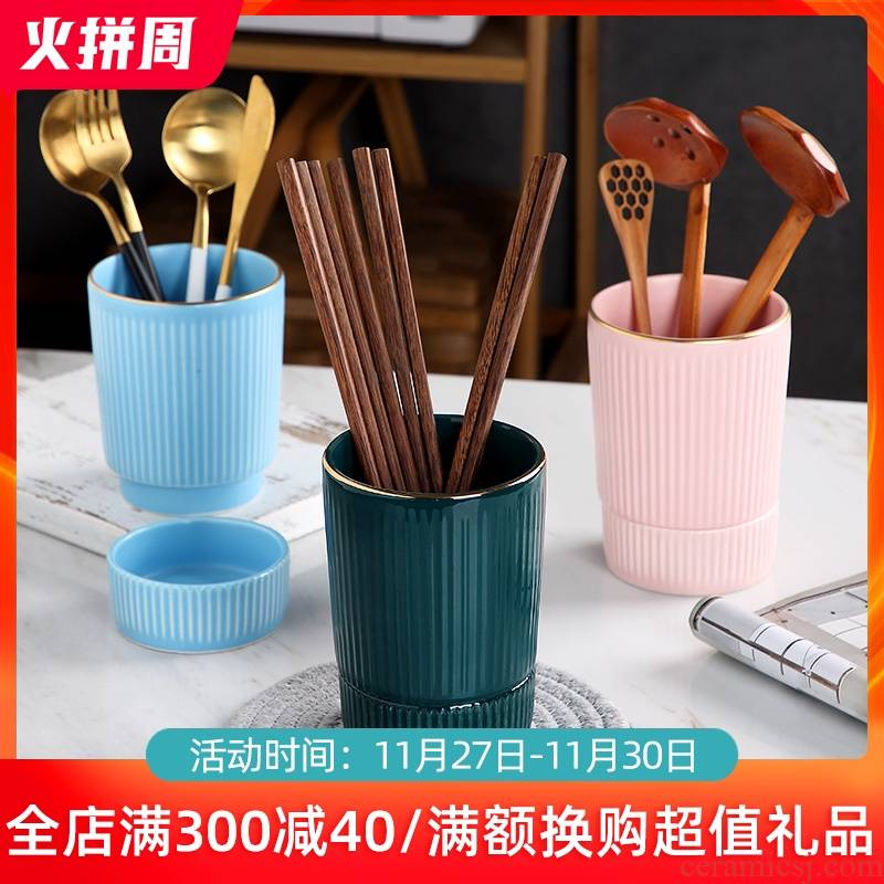 Nordic ceramic tube of household kitchen waterlogging under caused by excessive rainfall chopsticks creative Lou spoons chopsticks tableware receive a case of a single in a cage