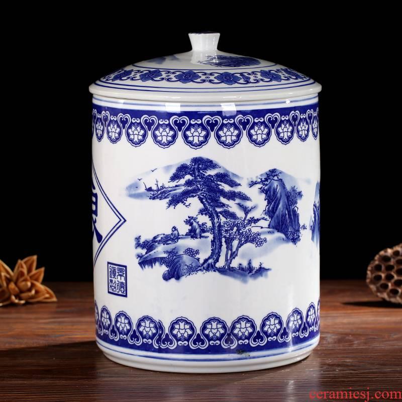 Jingdezhen ceramic barrel storage device large kitchen pickles cylinder with cover home 20 jins ricer box seal