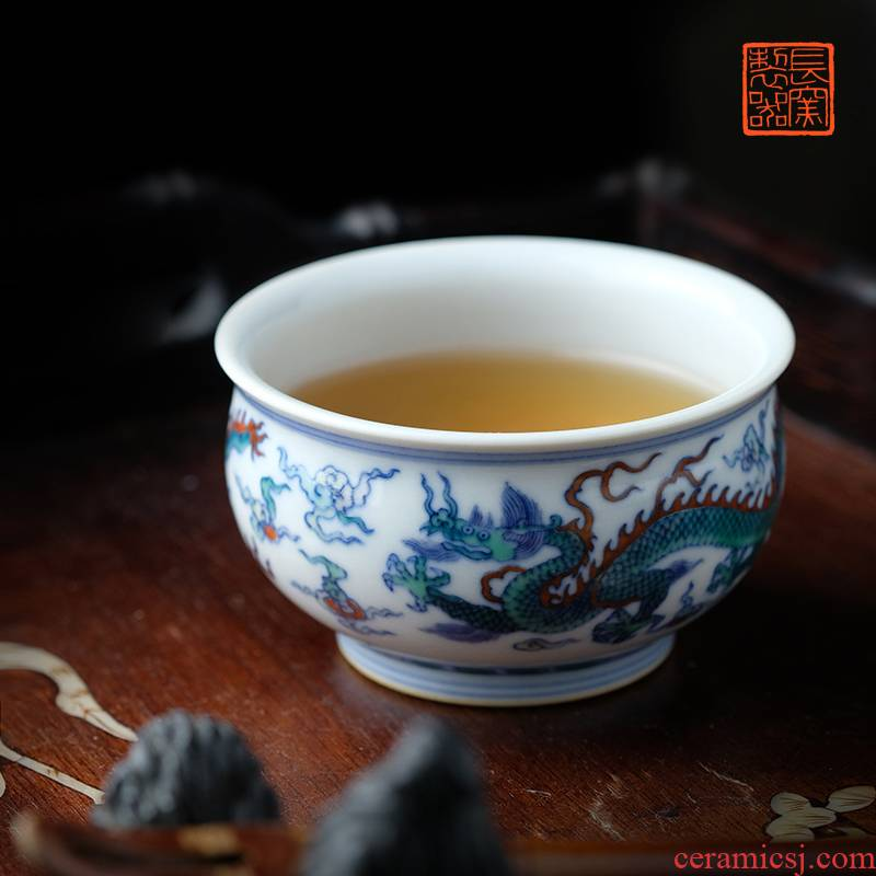 Offered home - cooked ju long up controller yongzheng bucket color YunLongWen cylinder of jingdezhen manual master cup tea set
