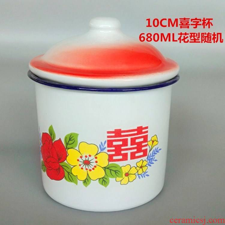Enamel cup with cover large large capacity super heavy ChaGangZi tea steel cup nostalgic old retro mugs