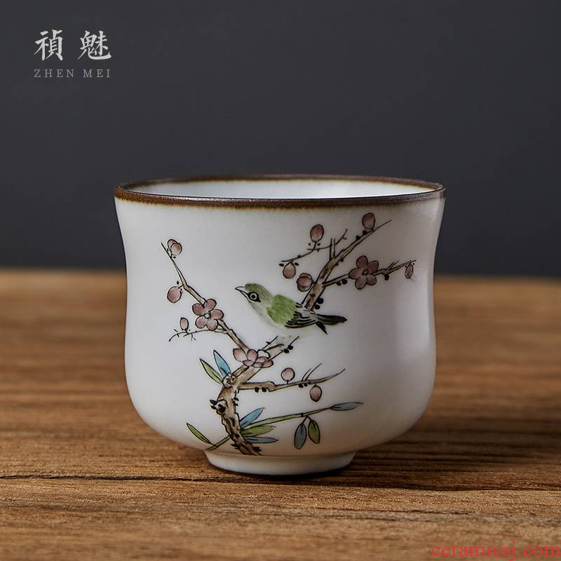 Shot incarnate your up hand - made flowers and birds of jingdezhen ceramic cups kung fu tea set sample tea cup personal single CPU master CPU