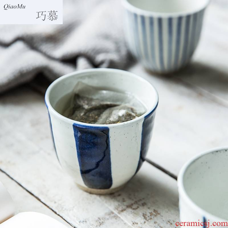 Qiam longed for ceramic stripes make tea cup home opportunely Japanese soup cup creative contracted ultimately responds to a cup of milk cup
