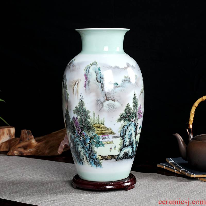 Landscape painting vase furnishing articles jingdezhen hand - made ceramics flower arranging dried flowers sitting room home decorative arts and crafts