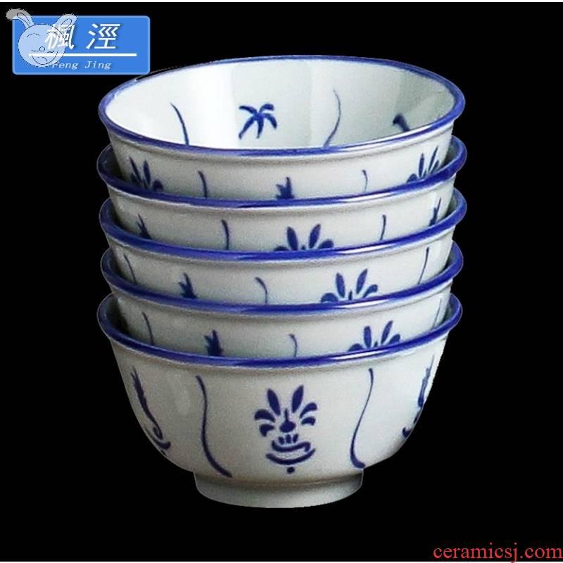 Jones, orchid bowls 4.5 inch ceramic blue and white new LAN kwai carp bowl bowl fights nostalgic retro tableware ancient.