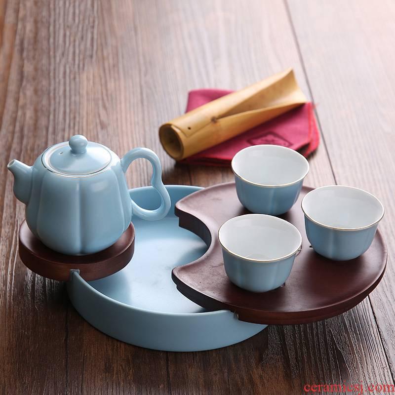Jingdezhen ceramic tea set kung fu tea set modern travel portable bag the whole household mini little teapot