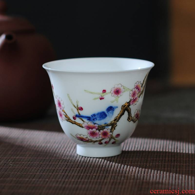 The Owl up jingdezhen blue and white checking ceramic tea set kung fu tea cup bell pay-per-tweet mui hand - made famille rose tea set