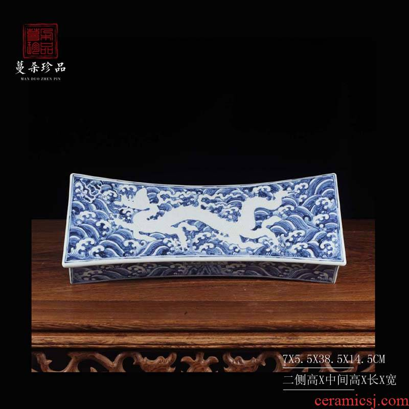 Hand the blue and white porcelain of jingdezhen blue and white porcelain pillow pillow dragon yuanyang porcelain pillow