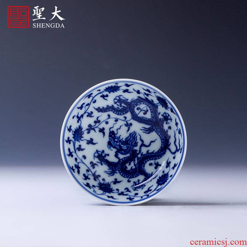 Holy big ceramic flagship store kung fu tea cups jingdezhen blue and white tie up branch dragon master sample tea cup lamp that tea by hand
